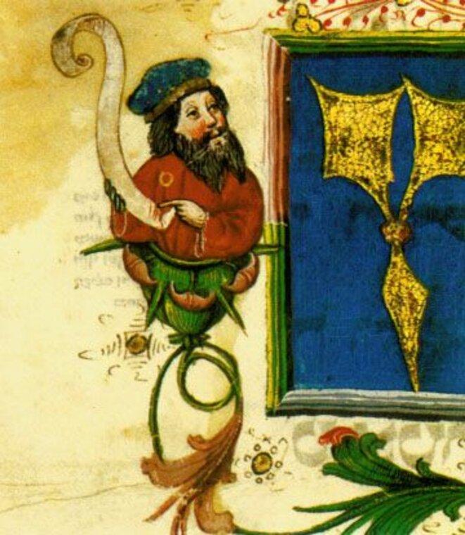 Juif portant la rouelle - manuscrit médiéval