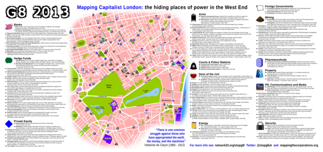 Juin 2013 © https://www.standard.co.uk/news/london/g8-anti-capitalist-protesters-target-100-addresses-of-power-in-west-end-8625112.html