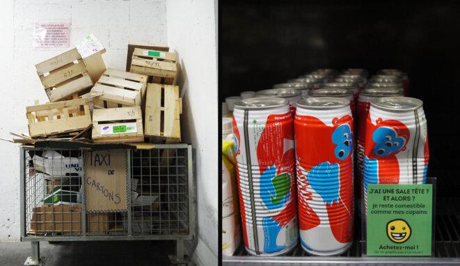 A la Louve les produits abîmés sont valorisés par des étiquettes antigaspi positives, les cartons sont compactés et partent vers des filières de recyclage, © fair
