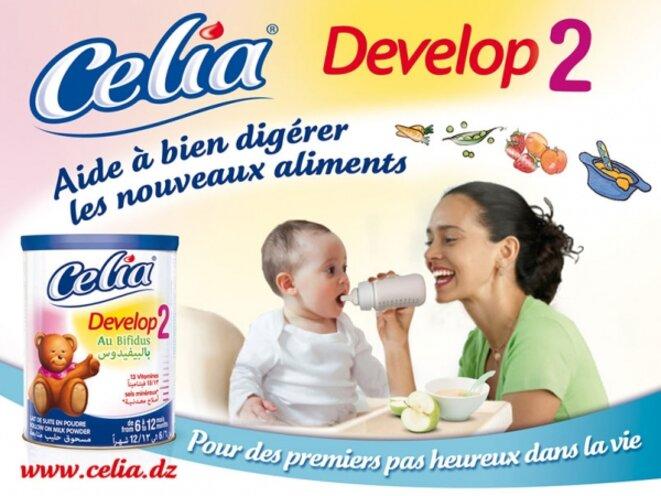 Publicité de la marque Celia, la laiterie rachetée par Lactalis en 2006. © DR