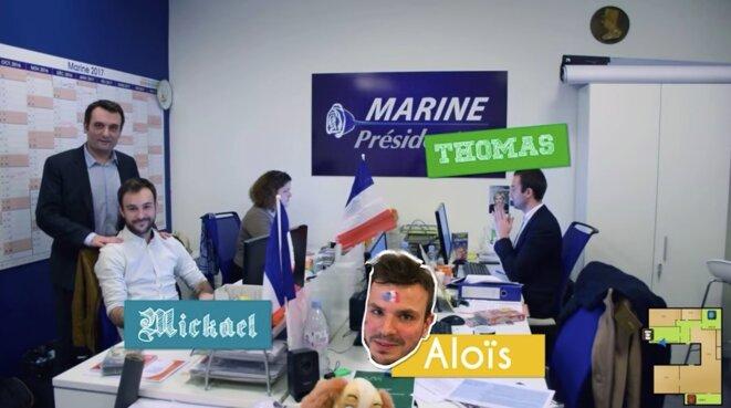 """Mickaël Ehrminger avec Florian Philippot et le pôle """"rédaction"""" dans la vidéo de présentation du QG. © Chaîne Youtube de Florian Philippot"""