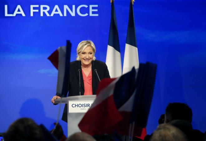Marine Le Pen reconnaît sa défaite le soir du second tour de l'élection présidentielle, le 7 mai 2017, au Chalet du Lac, à Vincennes. © Reuters