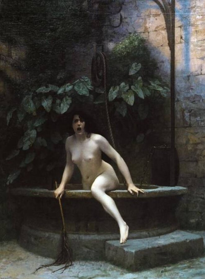 «Vérité sortant du puits armée de son martinet pour châtier l'humanité» de Jean-Léon Gérôme