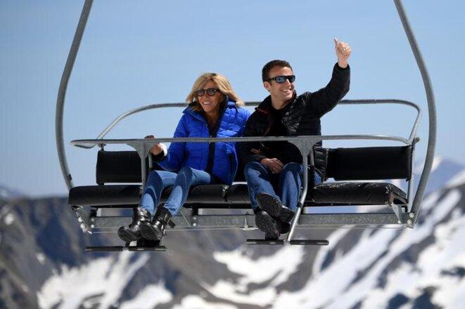 Emmanuel Macron en campagne à Bagnères-de-Bigorre, le 12 avril 2017. © Reuters