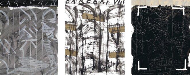 J-P. Rodrigo, série « Carcere VIII » : 1, 2 et 3, peinture, 2012 © J-P. Rodrigo