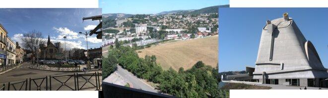 Firminy centre-ville. Vue du haut de l'immeuble du Corbusier. Eglise Saint-Pierre, Le Corbusier [Photos YF]