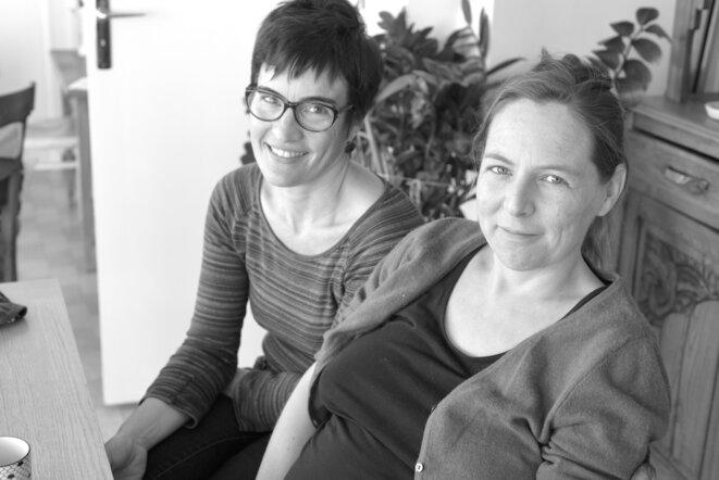 Charlotte et Hélène, peu avant la naissance de leur deuxième fille, en octobre 2017. © LF