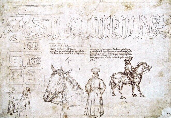 Figure 3 : Jean VIIIPaléologue à cheval, dessin d'étude d'Antonio Pisanello, 1438/9, Paris, Musée du Louvre, Département des Arts Graphiques, cliché base JOCONDE