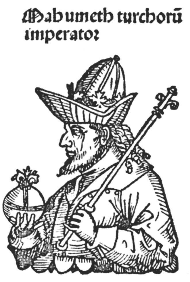 """Figure 5 : Mahumeth (Mehmet II) empereur des Turcs, gravure du """"Liber Chronicarum"""", Nuremberg, 1493"""