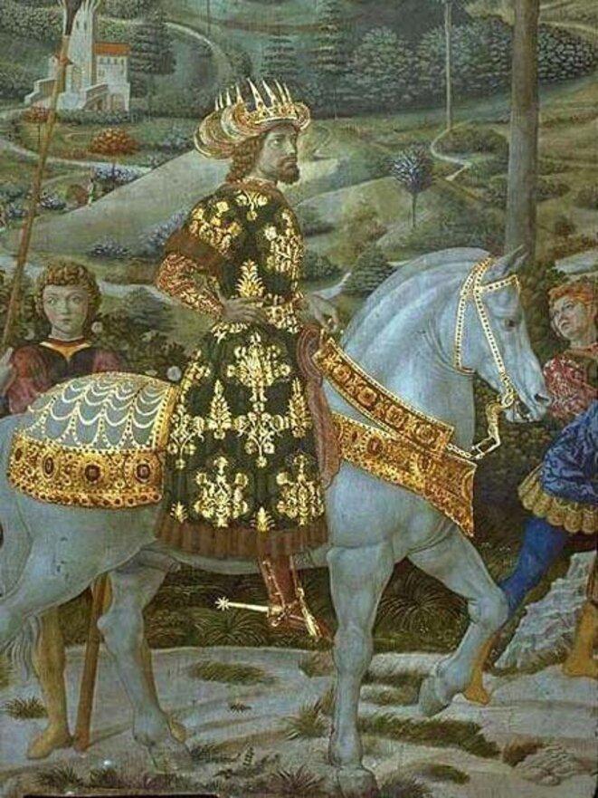 """Figure 1 : """"Procession des mages"""", Balthazar-Jean VIIIPaléologue, détail, fresque de Benozzo Gozzoli, 1459-1462, Florence, chapelle du palais des Médicis"""