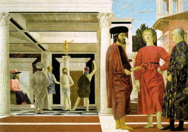 """Figure 4 : """"Flagellation du Christ"""", détail, tempera de Piero della Francesca, 1459, Urbino, Galerie Nationale de la Marche. Jean VIII est assis à gauche des bourreaux"""