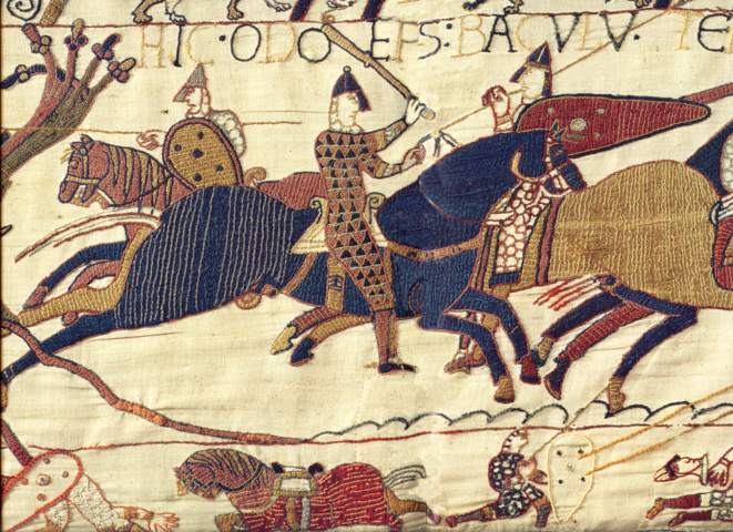 A section of the Bayeux Tapestry depicting Odo, Bishop of Bayeux, wielding a club and encouraging the troops of William, Duke of Normandy during the Battle of Hastings.