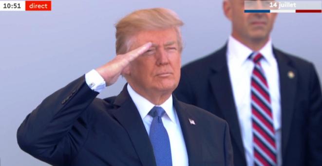 Salut aux troupes du président des USA Donald TRUMP à Paris pour le 14 juillet