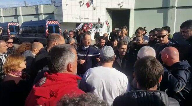 Entrée de la prison de Borgo après agression avec la Gendarmerie en position