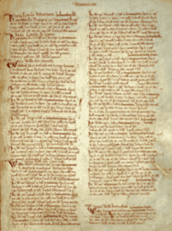 A page from the Domesday Book.