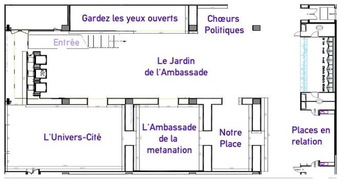 Le plan de l'étage -1 du centre Pompidou, pendant le festival