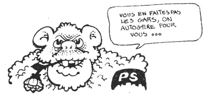 Dessin du numéro hors-série de «Liaisons» de février 1977 consacré aux «élections et leur ménagerie» moquant la récupération du thème de l'autogestion par le Parti socialiste © Médiathèque d'Orléans