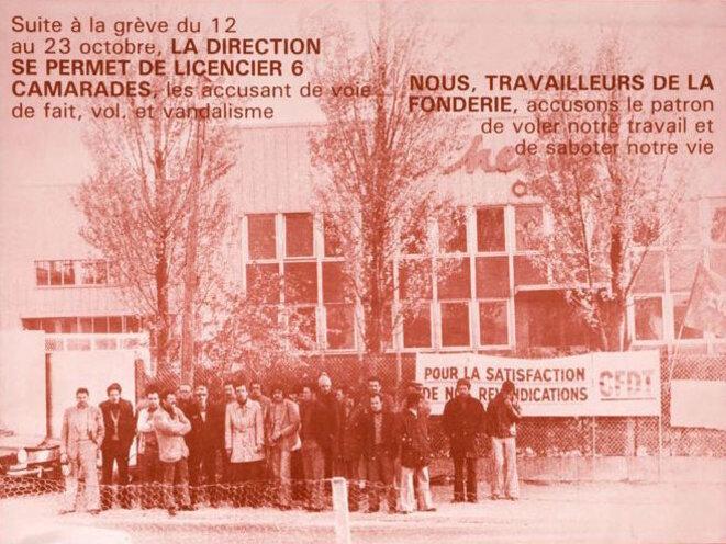 Affiche de soutien à la grève de la fonderie Chenesseau (détail), 1978 © CIRA
