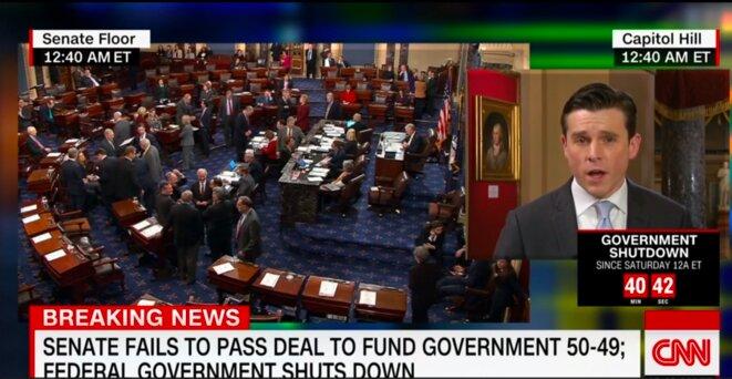 CNN, samedi 20 janvier, 00h40 à Washington: le « shutdown » est officiel © capture d'écran CNN