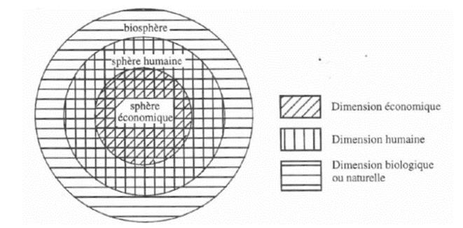Figure 1 – L'approche écosystémique (R. Passet, 1996 ; 4). © René Passet