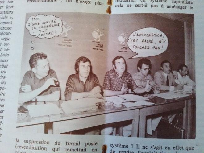 Illustration de l'article sur la plateforme CFDT dans «Front libertaire» qui fait dire à Edmond Maire, secrétaire général de la CFDT, qu'il est «contre la hiérarchie... tout contre !» © FACL