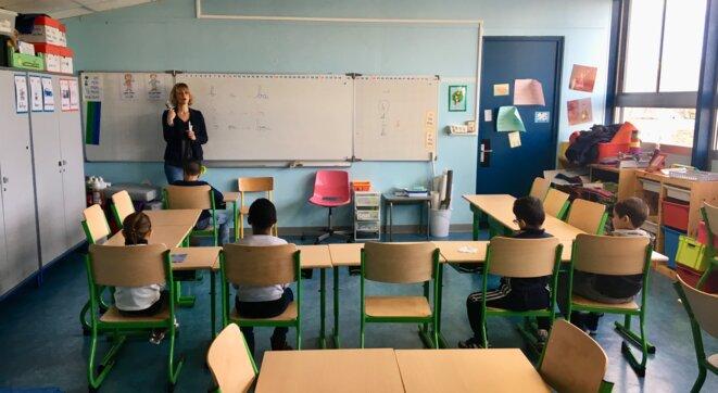 Dans une classe de CP dédoublés à Montpellier. © FZ