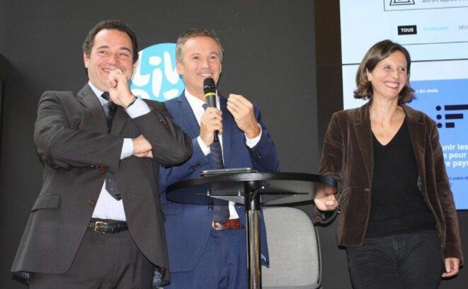 Jean-Frédéric Poisson, Nicolas Dupont-Aignan et Emmanuelle Ménard lors du lancement des Amoureux de la France