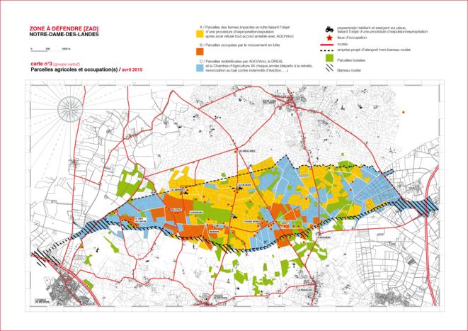 Carte des parcelles agricoles de la ZAD en avril 2015 (cliquer sur la carte pour l'agrandir). © DR