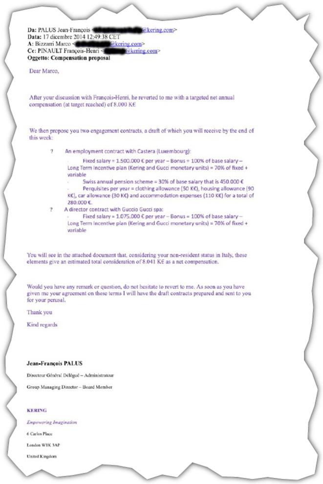 La proposition de rémunération envoyée par courriel le 17 décembre 2014 à Marco Bizzarri par le directeur général de Kering, qui a mis François-Henri Pinault en copie © EIC