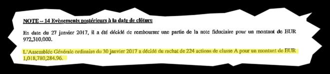 Le rachat de 224 actions rapporte plus d'un milliard d'euros. © Document Mediapart