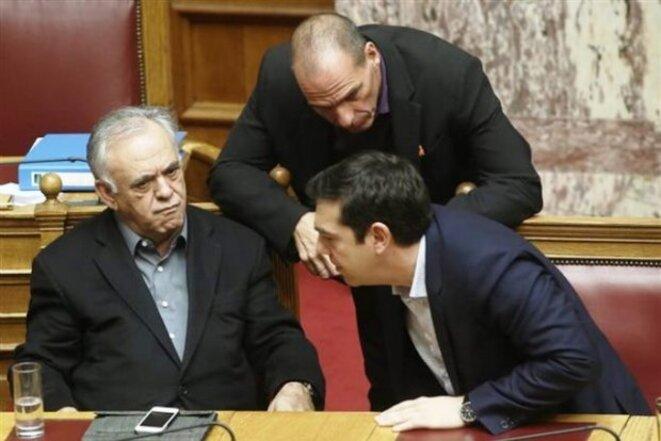 Dragasakis, Tsipras et Varoufakis