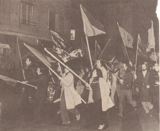 Le groupe ORA d'Orléans en manifestation, janvier 1974 © archives privées