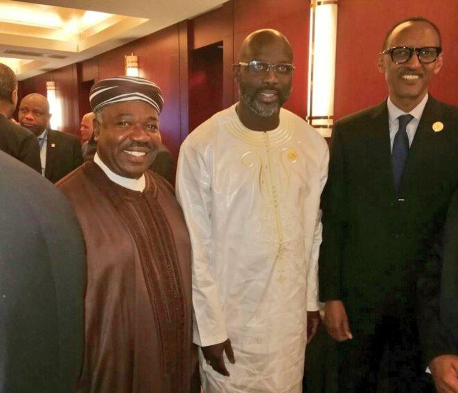 30e sommet de l'union Africaine-28 janvier  2018 -Les-présidents-du-Rwanda (Paul Kagamé)-Gabon (Ali Bongo Ondimba)-et-Liberia (George Weah)