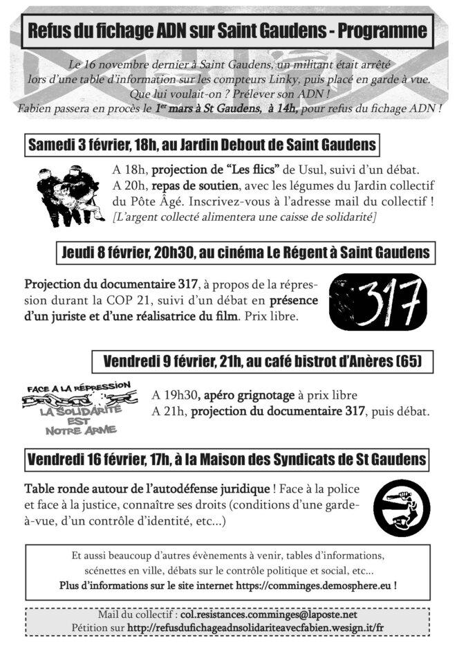 Programme de février, en soutien à Fabien © Collectif Résistances en COmminges
