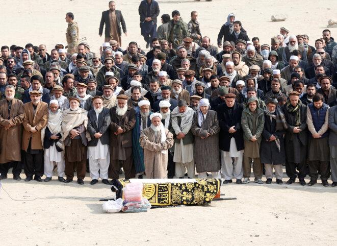 Cérémonie funéraire, dimanche 28 janvier 2018 à Kaboul. © Reuters