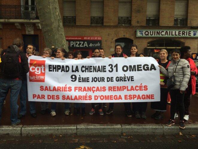 Les grévistes de l'Ehpad de Rouffiac manifestant place Arnaud-Bernard à Toulouse le 19 octobre 2017 [Photo DR pour ce blog]