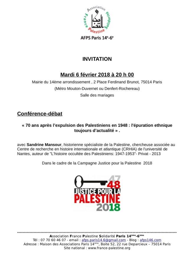 INVITATION À LA CONFÉRENCE-DÉBAT MARDI 6/2/2018, À 20h MAIRIE DU 14éme PARIS © E'M.C. Free Palestine