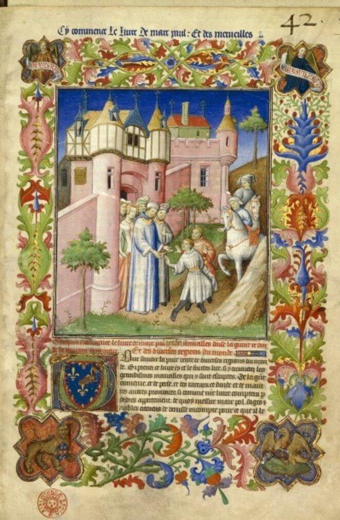 """""""Les frères Polo quittant Constantinople"""", BNF, Français 2810, fol. 1, Maître de la Mazarine, vers 1410-1412"""
