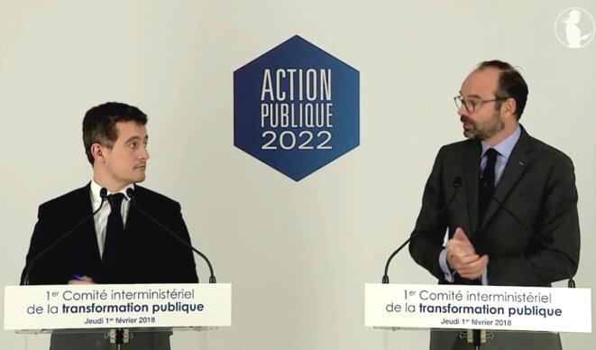 Le discours d'Edouard Philippe et de Gérald Darmanin, jeudi 1er février. © Capture d'écran d'une vidéo du site gouvernement.fr.