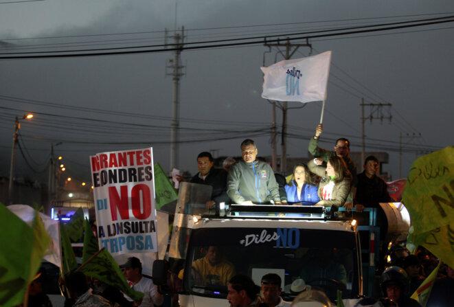 Rafael Correa en campagne pour le non, dans les environs de Quito, le 29 janvier 2017 © Reuters