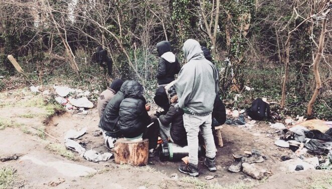 Migrants living rough in Calais, February 2nd, 2018. © Elisa Perrigueur