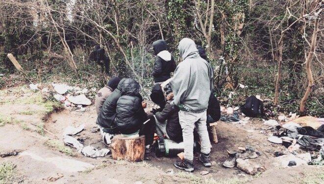Migrants living rough in Calais, February 2nd, 2018. © Elisa Perrigueur