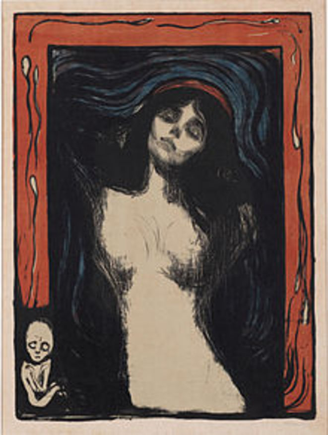Madonna, coloured lithograph, Edvard Munch, 1895-1902, Musée Munch, Oslo