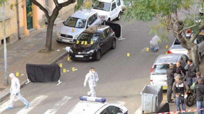 La scène de crime, après l'assassinat d'Antoine Nivaggioni. © DR