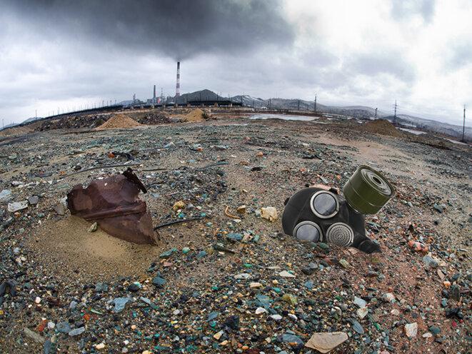 Paysage dévasté par l'exploitation des terres rares en chine
