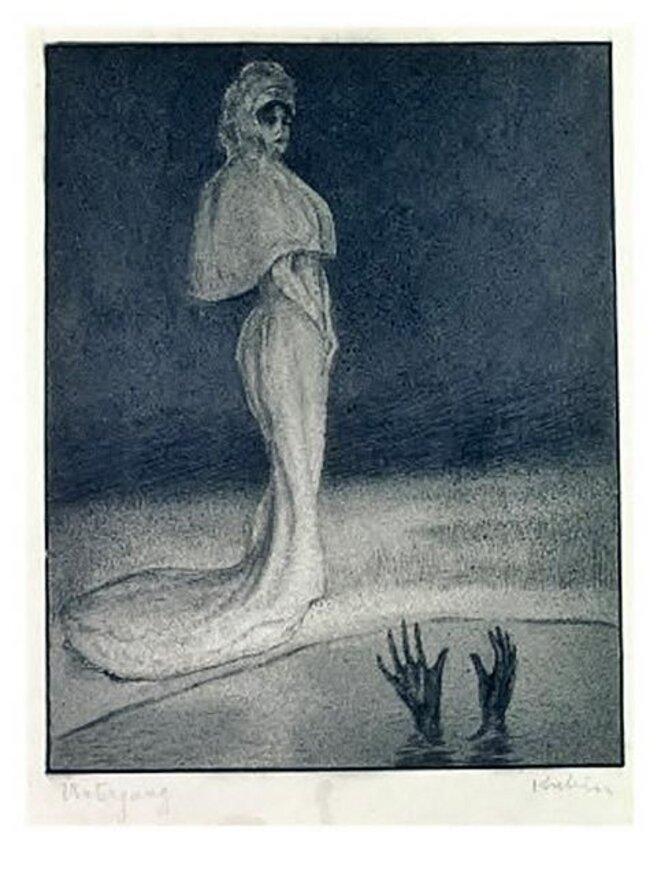 The Fall, engraving, pen, ink and wash, Alfred Kubin, 1903, Kubin-Kabinett der Landesgalerie Linz
