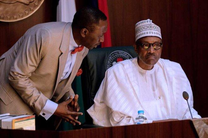 Le président Buhari et le patron du DSS, l'ancien général Babagana Monguno