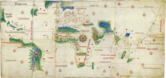 Carta da navigar per le Isole nouam tr [ovate] in le parte de l'India: dono Alberto Cantino al S. Duca Hercole (« carte nautique des îles nouvellement trouvées dans la région de l'Inde : donnée par Alberto Cantino à S. duc Hercule ») appelée le planisphère de Cantino, datée de 1502.