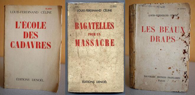 Éditions rares des trois pamphlets de Céline. © DR