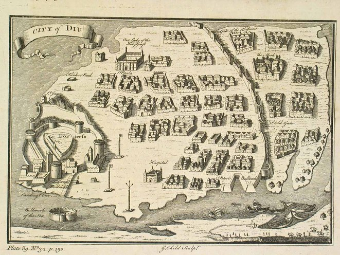 """City of Diu"" in Thomas Salmon, ""The Universal Traveller"", Londres, 1752 (1729)."